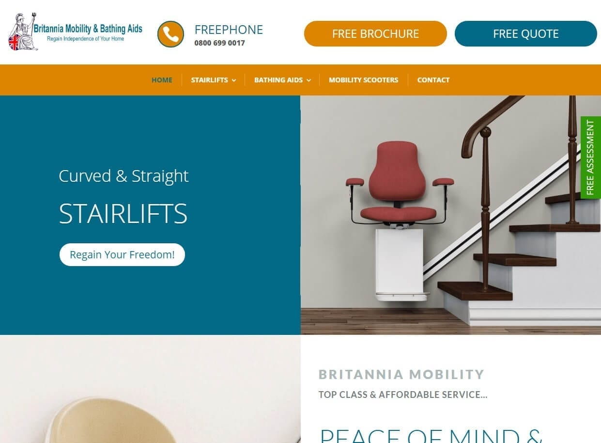 Website Designed for a Stairlifts and Bathing Aids Company