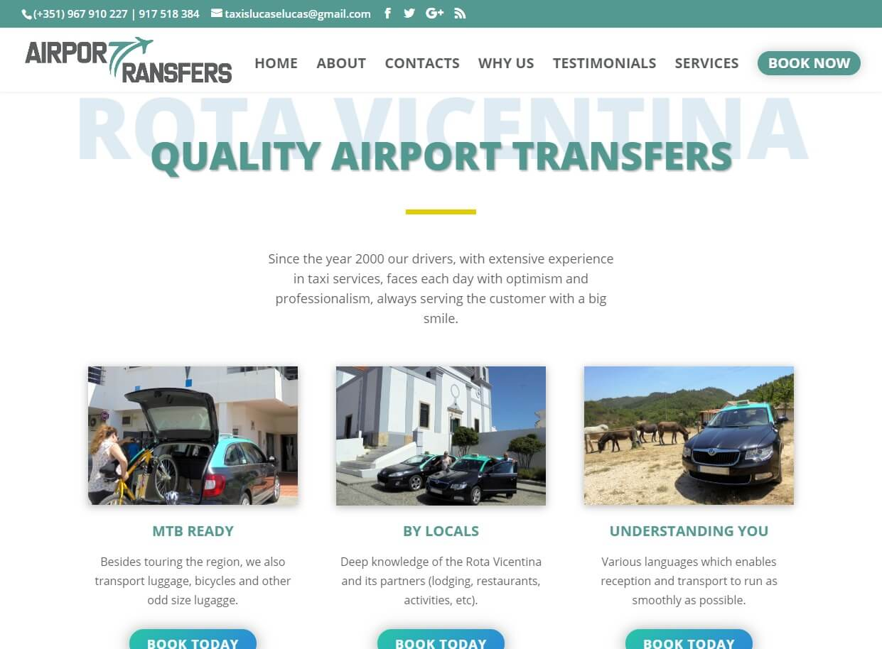 Web Designers in the UK - Airport Transfer Website